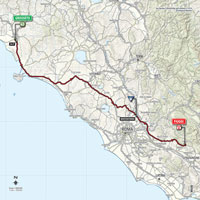 The map with the race route of the 7th stage of the Tour of Italy 2015