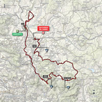 The map with the race route of the 9th stage of the Tour of Italy 2015