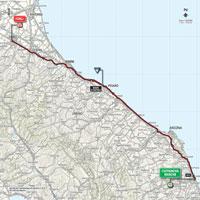 De kaart met het parcours van de 10de etappe van de Ronde van Italië 2015