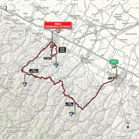 The map with the race route of the 11th stage of the Tour of Italy 2015