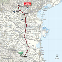 The map with the race route of the 12th stage of the Tour of Italy 2015