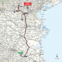 De kaart met het parcours van de 12de etappe van de Ronde van Italië 2015