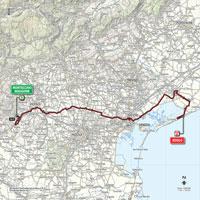 De kaart met het parcours van de 13de etappe van de Ronde van Italië 2015