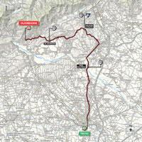 De kaart met het parcours van de 14de etappe van de Ronde van Italië 2015