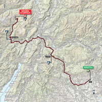 The map with the race route of the 15th stage of the Tour of Italy 2015