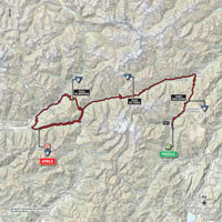 The map with the race route of the 16th stage of the Tour of Italy 2015