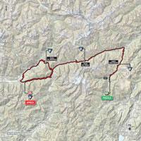De kaart met het parcours van de 16de etappe van de Ronde van Italië 2015