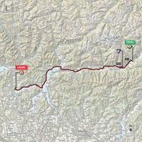 The map with the race route of the 17th stage of the Tour of Italy 2015
