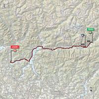 De kaart met het parcours van de 17de etappe van de Ronde van Italië 2015