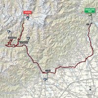 The map with the race route of the 19th stage of the Tour of Italy 2015