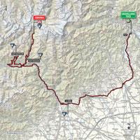 De kaart met het parcours van de 19de etappe van de Ronde van Italië 2015