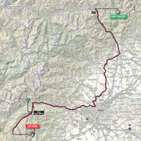 The map with the race route of the 20th stage of the Tour of Italy 2015