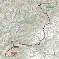 De kaart met het parcours van de 20ste etappe van de Ronde van Italië 2015