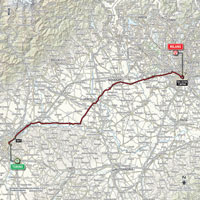 The map with the race route of the 21st stage of the Tour of Italy 2015