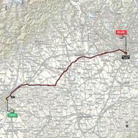 De kaart met het parcours van de 21ste etappe van de Ronde van Italië 2015