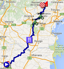The race route of the eleventh stage of the Giro d'Italia 2016 on Google Maps