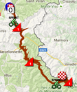 The race route of the twentieth stage of the Giro d'Italia 2016 on Google Maps