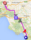 The race route of the fifth stage of the Giro d'Italia 2016 on Google Maps