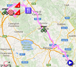 The race route of the eighth stage of the Giro d'Italia 2016 on Google Maps