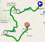 The map with the race route of the tenth stage of the Giro d'Italia 2017 on Google Maps