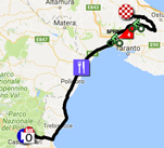 The map with the race route of the seventh stage of the Giro d'Italia 2017 on Google Maps