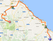 The map with the race route of the nineth stage of the Giro d'Italia 2017 on Google Maps