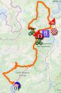 La carte du parcours de la 16ème étape du Giro d'Italia 2019 sur Open Street Maps