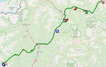 La carte du parcours de la 17ème étape du Giro d'Italia 2019 sur Open Street Maps