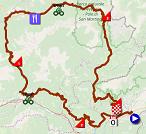 La carte du parcours de la 20ème étape du Giro d'Italia 2019 sur Open Street Maps