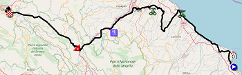 The map with the race route of the 7th stage of the Giro d'Italia 2019 on Open Street Maps