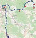 La carte du parcours de la 12ème étape du Giro d'Italia 2021 sur Open Street Maps
