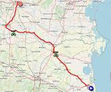 La carte du parcours de la 13ème étape du Giro d'Italia 2021 sur Open Street Maps