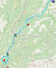 La carte du parcours de la 17ème étape du Giro d'Italia 2021 sur Open Street Maps