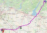 La carte du parcours de la 18ème étape du Giro d'Italia 2021 sur Open Street Maps