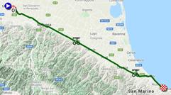 La carte du parcours de la 5ème étape du Giro d'Italia 2021 sur Open Street Maps