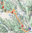 La carte du parcours de la 9ème étape du Giro d'Italia 2021 sur Open Street Maps