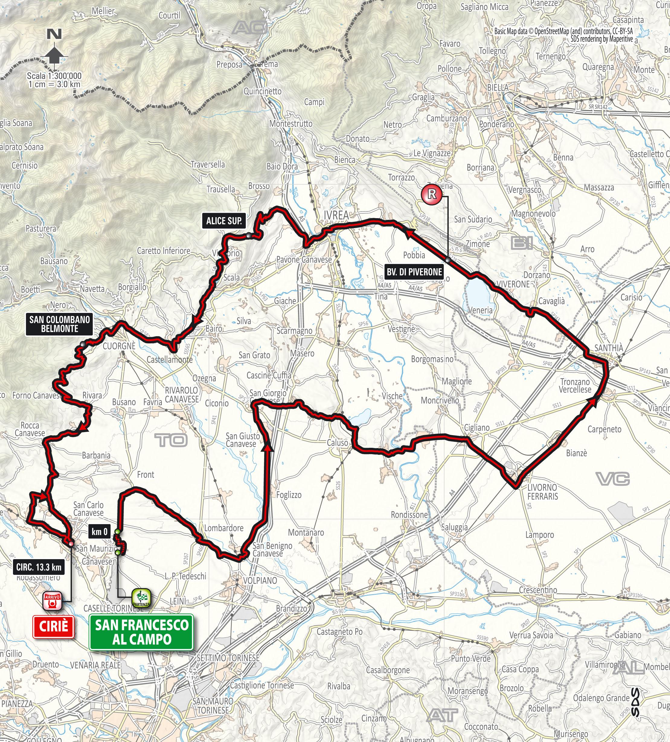 Parcours Giro del Piemonte 2015