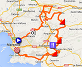 The map with the race route of the Grand Prix Cycliste La Marseillaise 2014 on Google Maps