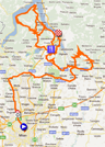 The map with the race route of the Tour of Lombardy 2011 on Google Maps