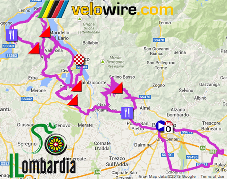 The Il Lombardia 2013 race route on Google Maps/Google Earth