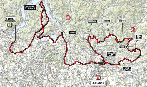 Race route map Il Lombardia 2014