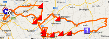 The map with the race route of Kuurne-Bruxelles-Kuurne 2014 on Google Maps