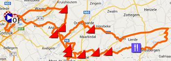 La carte du parcours de Kuurne-Bruxelles-Kuurne 2014 sur Google Maps