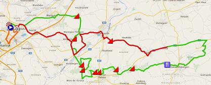De kaart met het parcours van Kuurne-Brussel-Kuurne 2015 op Google Maps