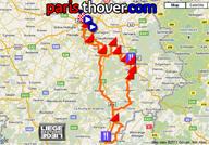 La carte avec le parcours de Liège-Bastogne-Liège 2011 sur Google Maps