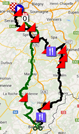 The map with the race route of Liège-Bastogne-Liège 2014 on Google Maps