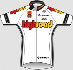 The new white Team High Road jersey