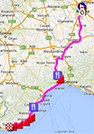 The map with the race route of Milan-Sanremo 2014 on Google Maps
