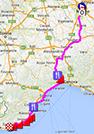 De kaart met het parcours van Milaan-Sanremo 2015 op Google Maps