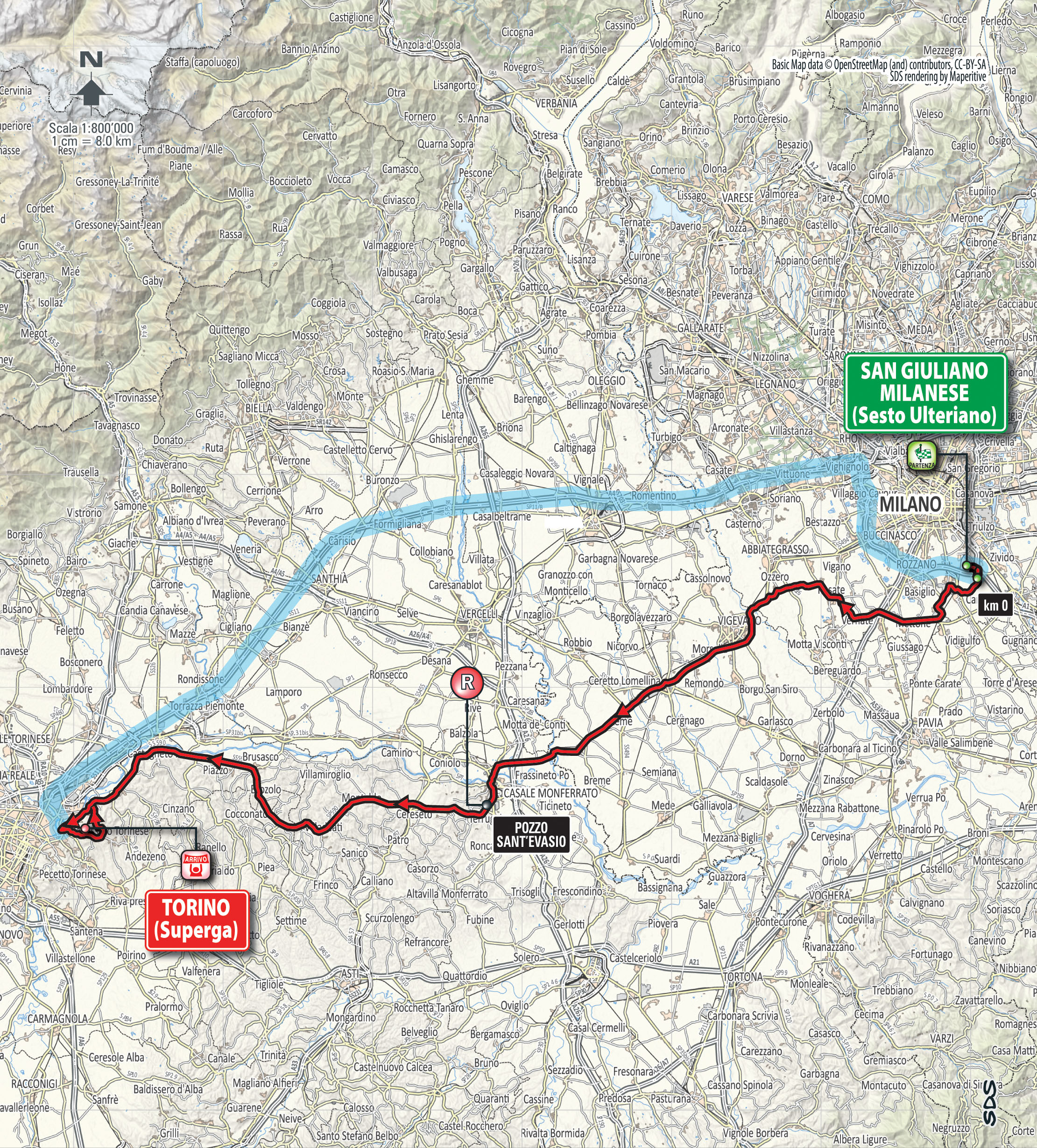 Race route map Milan-Turin 2015